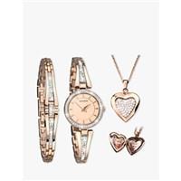 Sekonda 2533G.76 Womens Crystal Locket Pendant Bangle and Bracelet Strap Watch Gift Set, Rose Gold